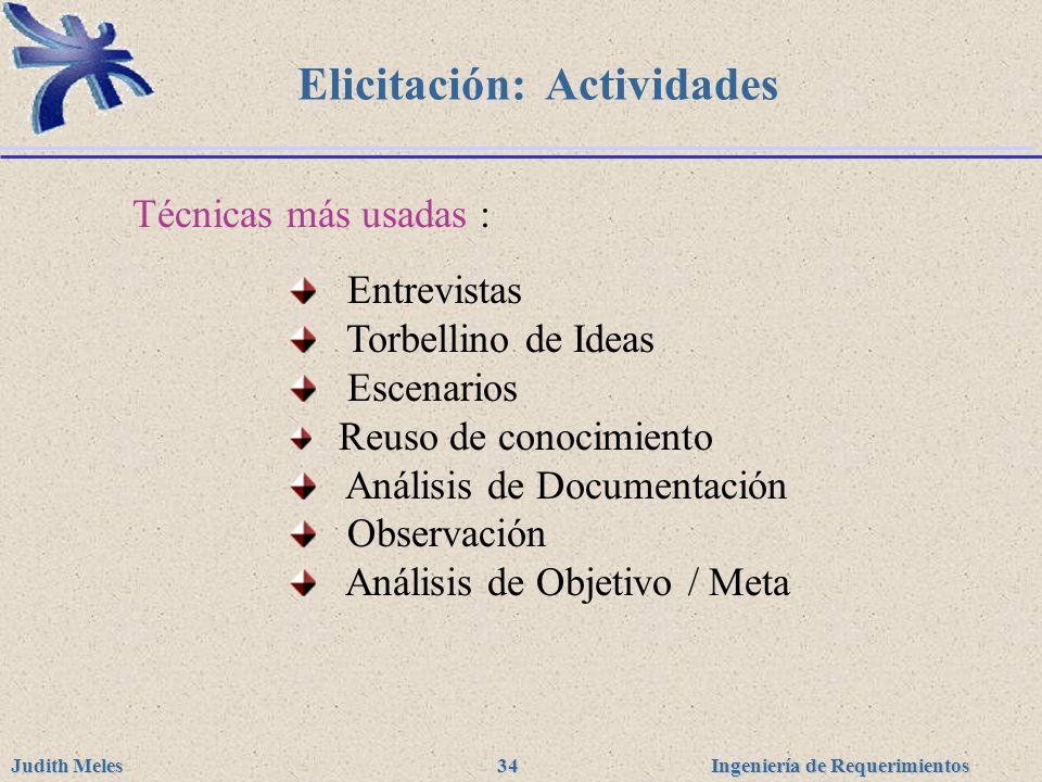 Ingeniería de Requerimientos Judith Meles 34 Elicitación: Actividades Técnicas más usadas : Entrevistas Torbellino de Ideas Escenarios Reuso de conoci
