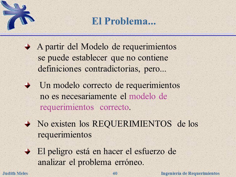 Ingeniería de Requerimientos Judith Meles 40 El Problema... A partir del Modelo de requerimientos se puede establecer que no contiene definiciones con