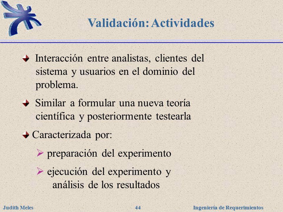 Ingeniería de Requerimientos Judith Meles 44 Validación: Actividades Interacción entre analistas, clientes del sistema y usuarios en el dominio del pr