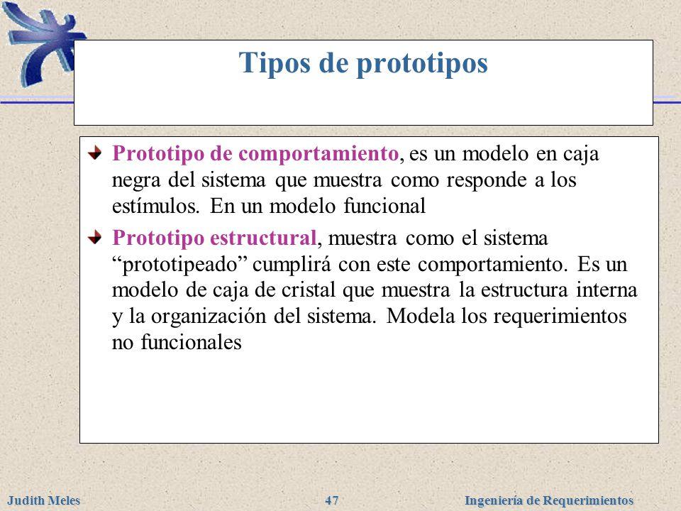 Ingeniería de Requerimientos Judith Meles 47 Tipos de prototipos Prototipo de comportamiento, es un modelo en caja negra del sistema que muestra como