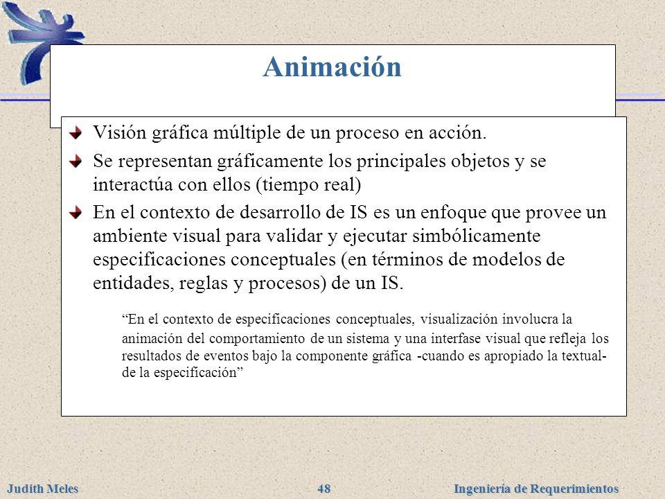 Ingeniería de Requerimientos Judith Meles 48 Animación Visión gráfica múltiple de un proceso en acción. Se representan gráficamente los principales ob
