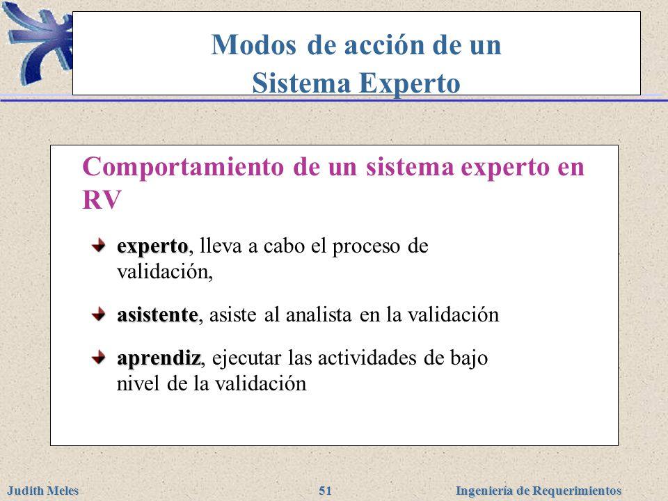 Ingeniería de Requerimientos Judith Meles 51 Modos de acción de un Sistema Experto Comportamiento de un sistema experto en RV experto experto, lleva a