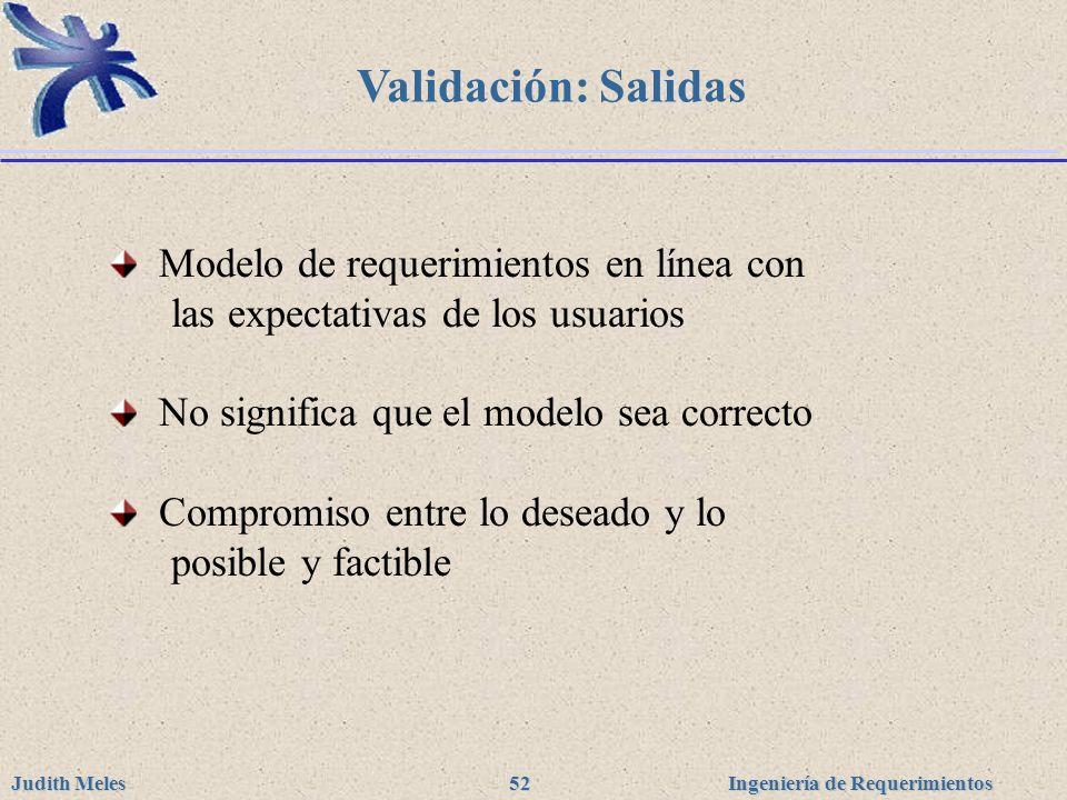 Ingeniería de Requerimientos Judith Meles 52 Validación: Salidas Modelo de requerimientos en línea con las expectativas de los usuarios No significa q