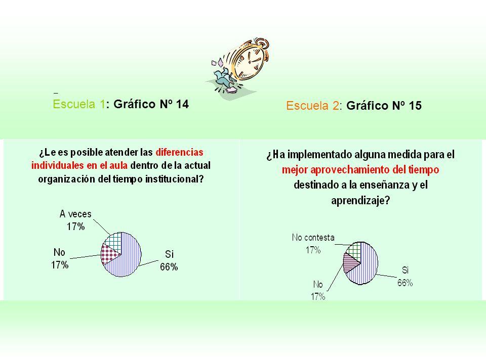 – Escuela 2: Gráfico Nº 15 Escuela 1: Gráfico Nº 14