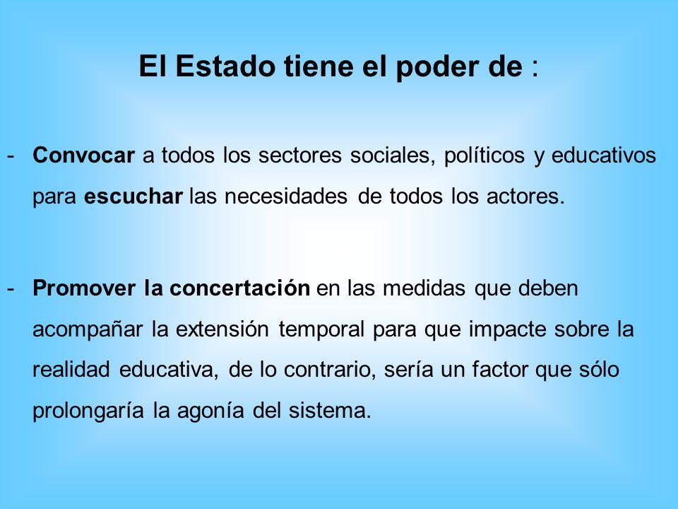 El Estado tiene el poder de : -C-Convocar a todos los sectores sociales, políticos y educativos para escuchar las necesidades de todos los actores. -P