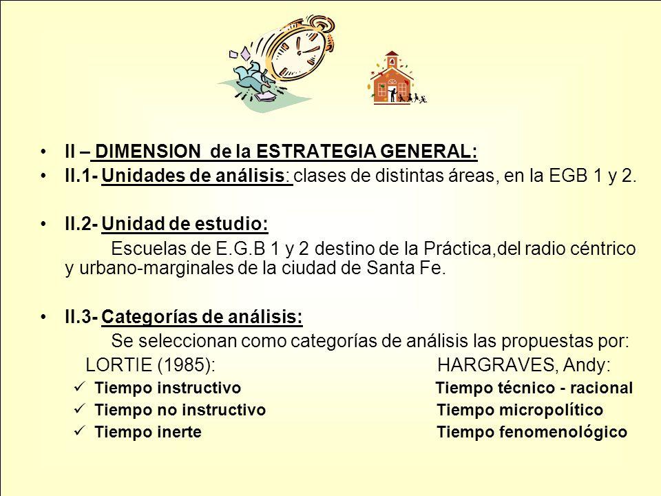 II – DIMENSION de la ESTRATEGIA GENERAL: II.1- Unidades de análisis: clases de distintas áreas, en la EGB 1 y 2. II.2- Unidad de estudio: Escuelas de