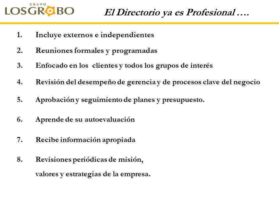 El Directorio ya es Profesional …. 1.Incluye externos e independientes 2.Reuniones formales y programadas 3.Enfocado en los clientes y todos los grupo