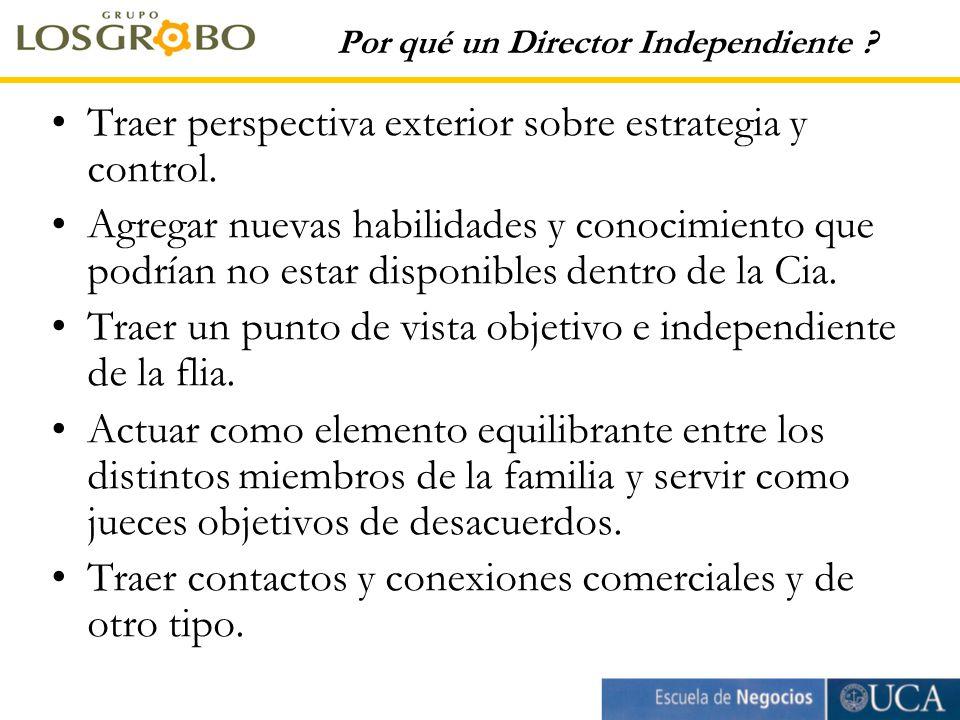 Por qué un Director Independiente . Traer perspectiva exterior sobre estrategia y control.