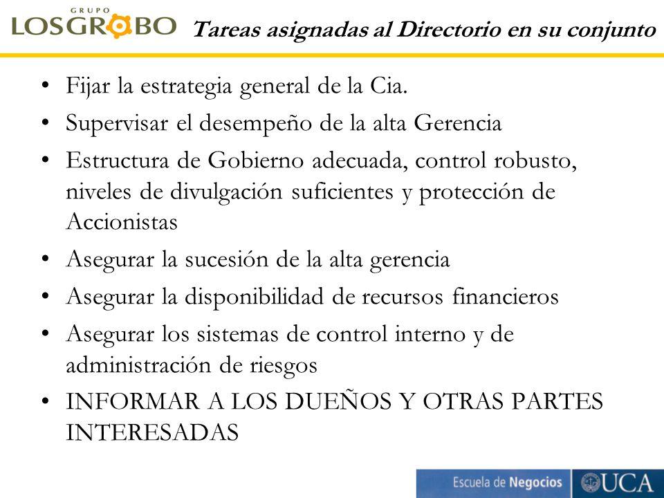 Tareas asignadas al Directorio en su conjunto Fijar la estrategia general de la Cia.