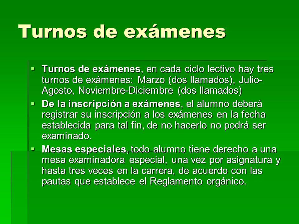 Turnos de exámenes Turnos de exámenes, en cada ciclo lectivo hay tres turnos de exámenes: Marzo (dos llamados), Julio- Agosto, Noviembre-Diciembre (do