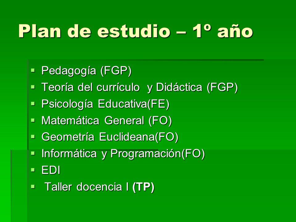 Plan de estudio – 1º año Pedagogía (FGP) Pedagogía (FGP) Teoría del currículo y Didáctica (FGP) Teoría del currículo y Didáctica (FGP) Psicología Educativa(FE) Psicología Educativa(FE) Matemática General (FO) Matemática General (FO) Geometría Euclideana(FO) Geometría Euclideana(FO) Informática y Programación(FO) Informática y Programación(FO) EDI EDI Taller docencia I (TP) Taller docencia I (TP)