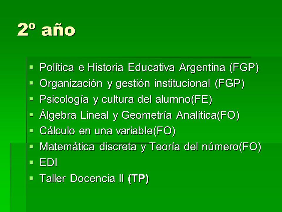 2º año Política e Historia Educativa Argentina (FGP) Política e Historia Educativa Argentina (FGP) Organización y gestión institucional (FGP) Organización y gestión institucional (FGP) Psicología y cultura del alumno(FE) Psicología y cultura del alumno(FE) Álgebra Lineal y Geometría Analítica(FO) Álgebra Lineal y Geometría Analítica(FO) Cálculo en una variable(FO) Cálculo en una variable(FO) Matemática discreta y Teoría del número(FO) Matemática discreta y Teoría del número(FO) EDI EDI Taller Docencia II (TP) Taller Docencia II (TP)