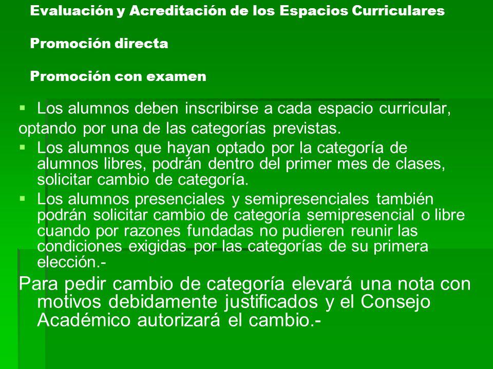 Evaluación y Acreditación de los Espacios Curriculares Promoción directa Promoción con examen Los alumnos deben inscribirse a cada espacio curricular,