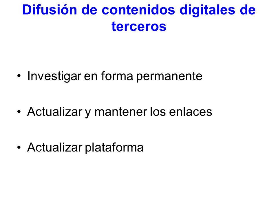 Difusión de contenidos digitales de terceros Investigar en forma permanente Actualizar y mantener los enlaces Actualizar plataforma