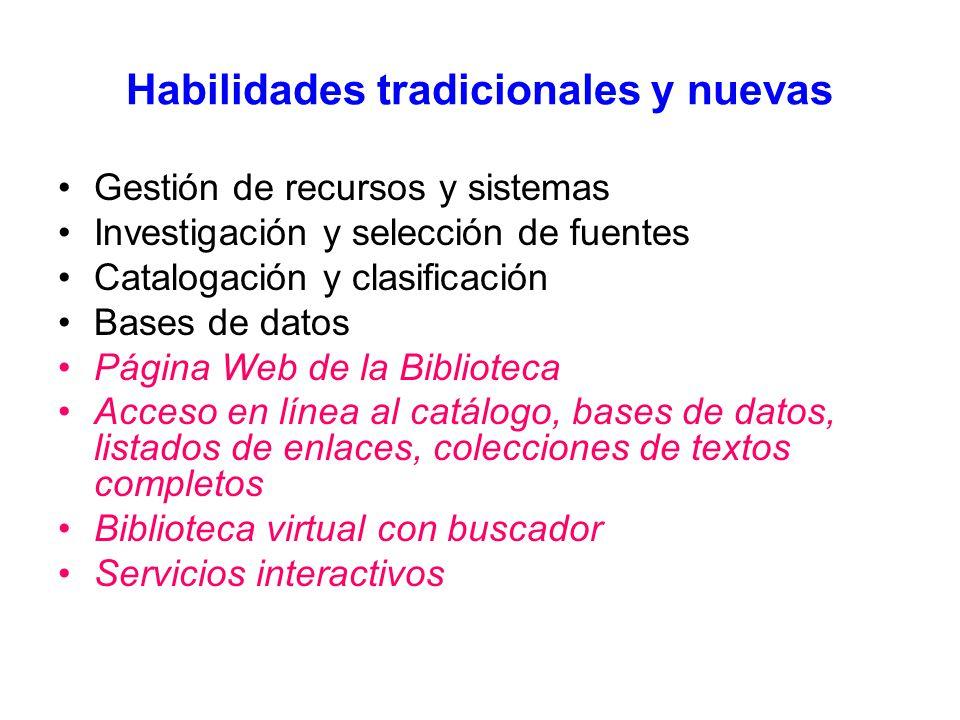 Habilidades tradicionales y nuevas Gestión de recursos y sistemas Investigación y selección de fuentes Catalogación y clasificación Bases de datos Página Web de la Biblioteca Acceso en línea al catálogo, bases de datos, listados de enlaces, colecciones de textos completos Biblioteca virtual con buscador Servicios interactivos