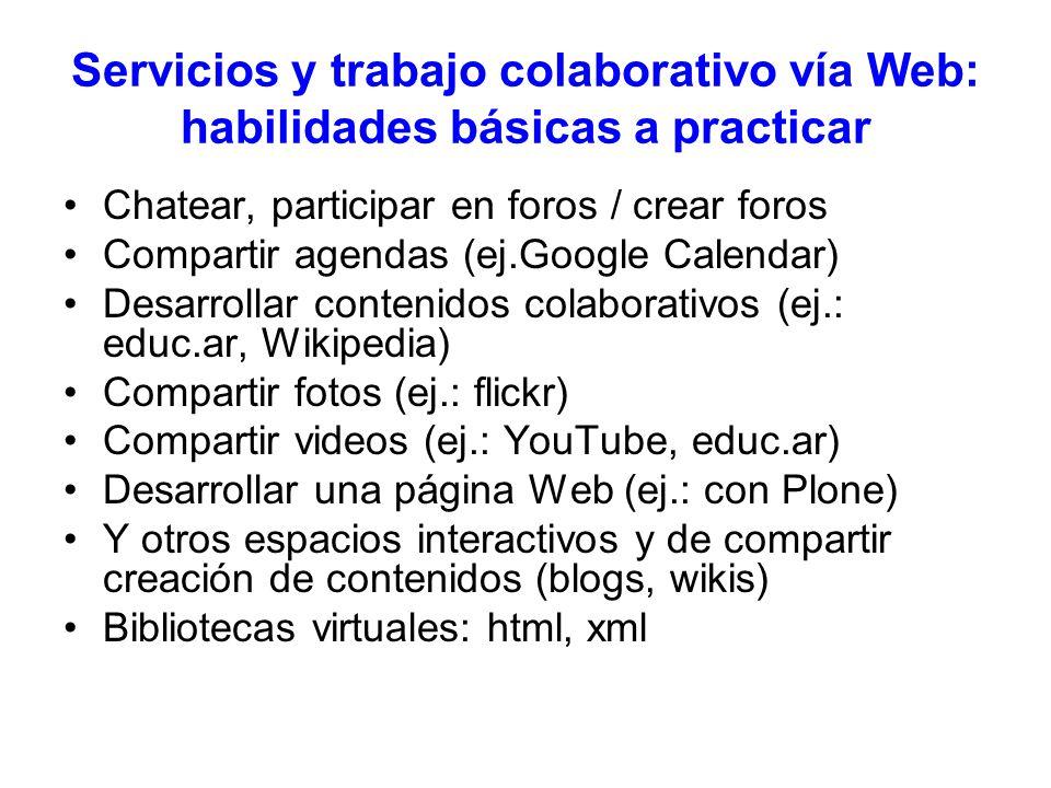 Servicios y trabajo colaborativo vía Web: habilidades básicas a practicar Chatear, participar en foros / crear foros Compartir agendas (ej.Google Cale