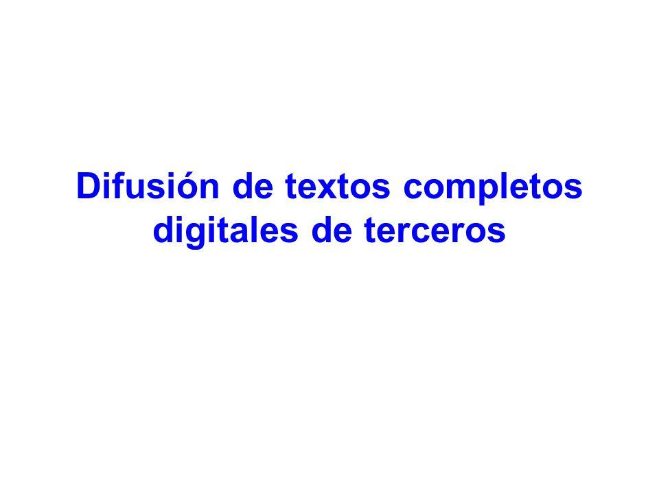 Difusión de textos completos digitales de terceros
