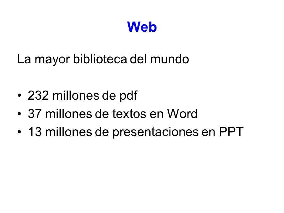 Web La mayor biblioteca del mundo 232 millones de pdf 37 millones de textos en Word 13 millones de presentaciones en PPT