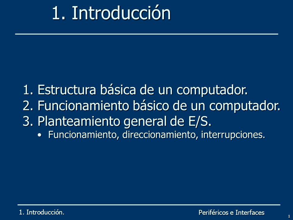 Periféricos e Interfaces 1 1. Introducción 1. Introducción. 1. Estructura básica de un computador. 2. Funcionamiento básico de un computador. 3. Plant