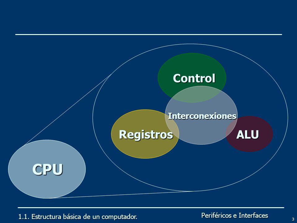 Periféricos e Interfaces 3 1.1. Estructura básica de un computador. CPU Registros ALU Control Interconexiones