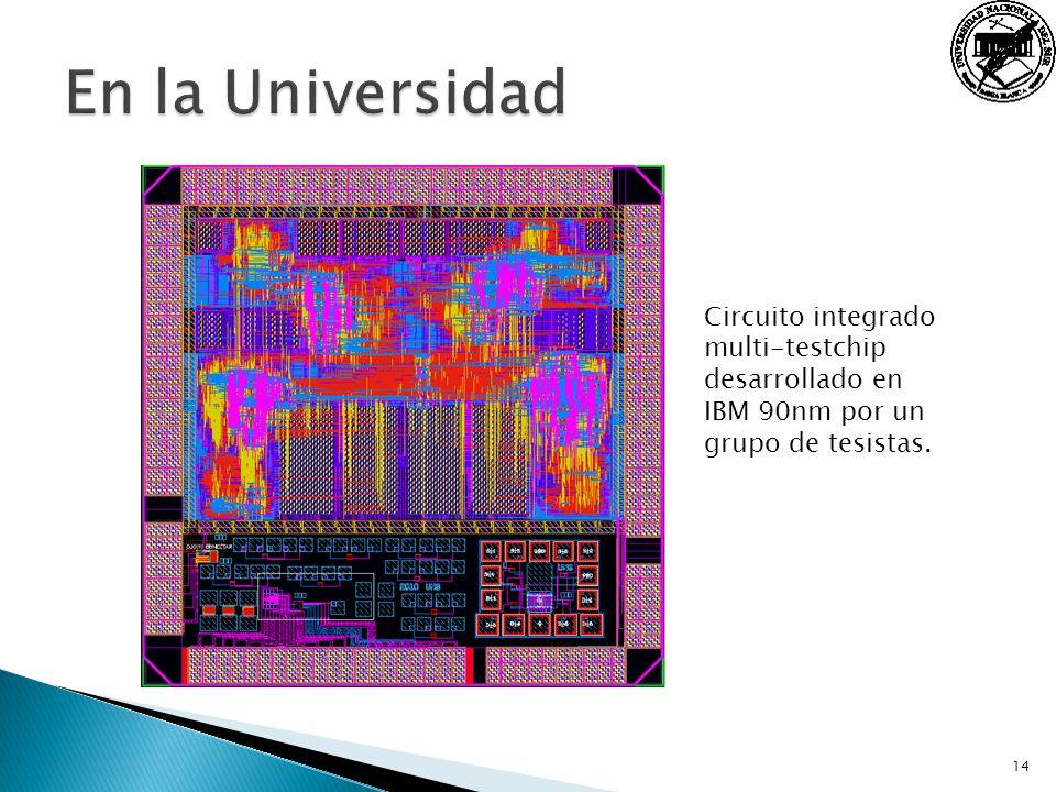 14 Circuito integrado multi-testchip desarrollado en IBM 90nm por un grupo de tesistas.