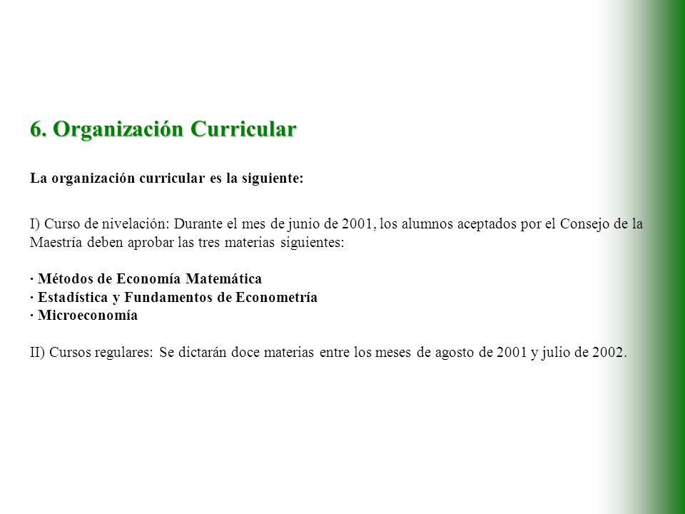 6. Organización Curricular La organización curricular es la siguiente: I) Curso de nivelación: Durante el mes de junio de 2001, los alumnos aceptados