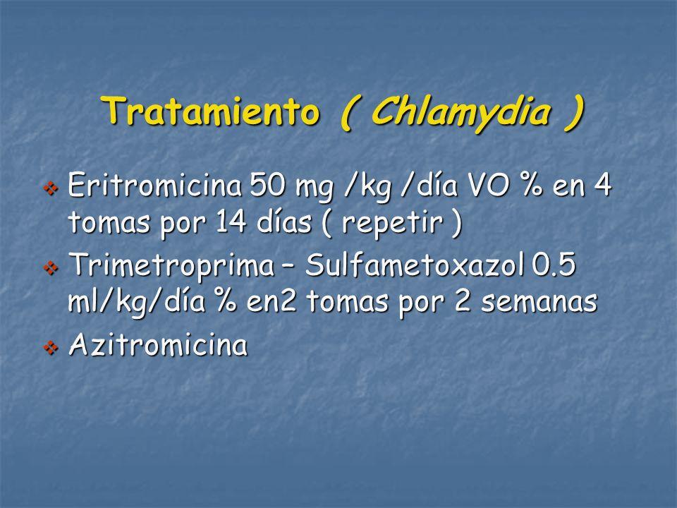 Tratamiento ( Chlamydia ) Eritromicina 50 mg /kg /día VO % en 4 tomas por 14 días ( repetir ) Eritromicina 50 mg /kg /día VO % en 4 tomas por 14 días ( repetir ) Trimetroprima – Sulfametoxazol 0.5 ml/kg/día % en2 tomas por 2 semanas Trimetroprima – Sulfametoxazol 0.5 ml/kg/día % en2 tomas por 2 semanas Azitromicina Azitromicina