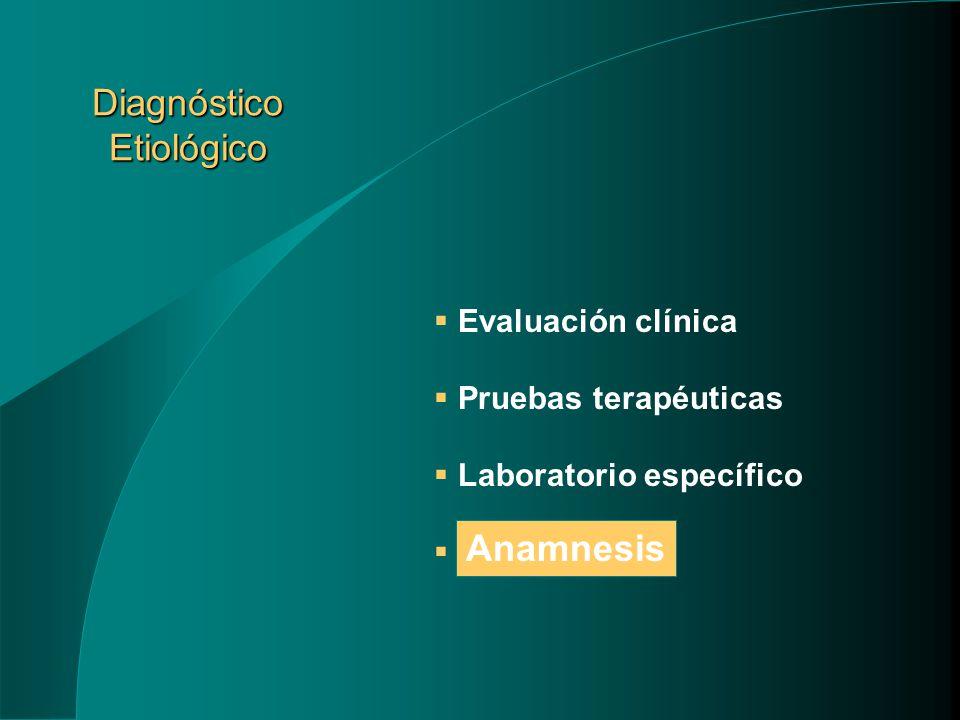 Diagnóstico Etiológico Evaluación clínica Pruebas terapéuticas Laboratorio específico Anamnesis