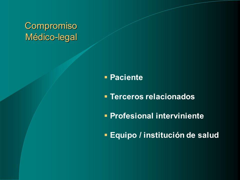 Compromiso Médico-legal Paciente Terceros relacionados Profesional interviniente Equipo / institución de salud