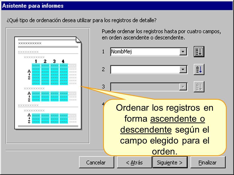 Más niveles de ordenación de los datos en el informe.