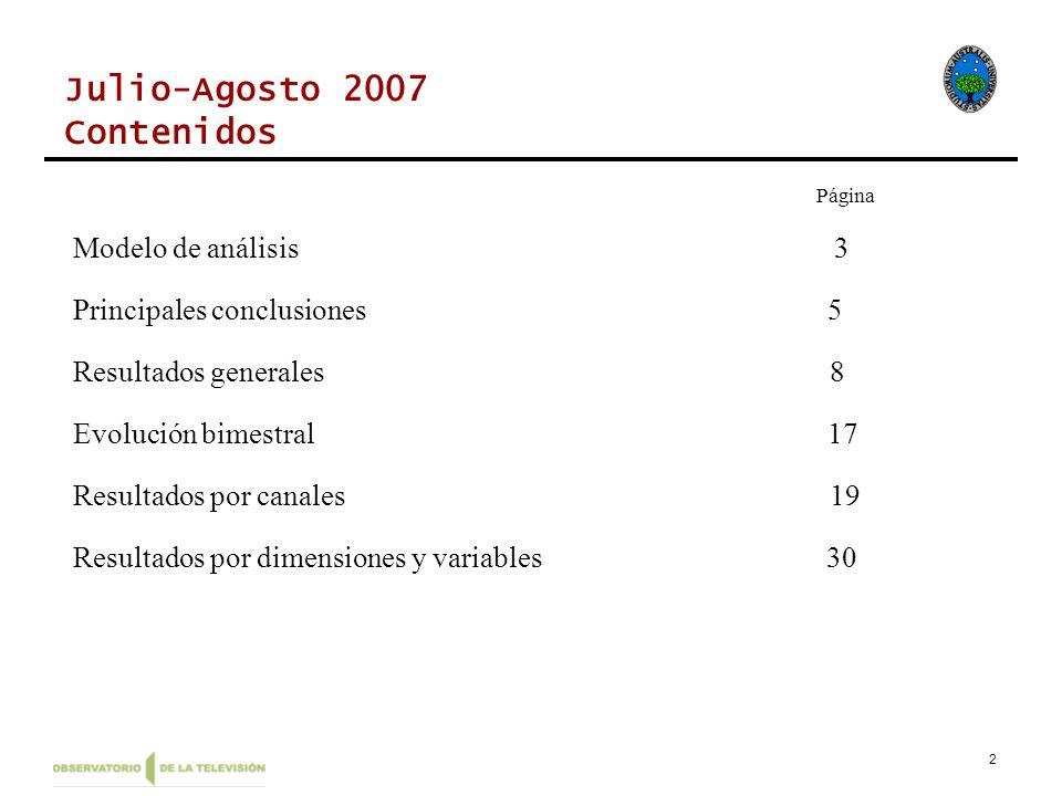 2 Julio-Agosto 2007 Contenidos Página Modelo de análisis 3 Principales conclusiones 5 Resultados generales 8 Evolución bimestral 17 Resultados por canales 19 Resultados por dimensiones y variables 30