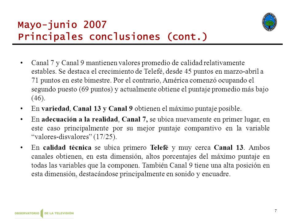 7 Mayo-junio 2007 Principales conclusiones (cont.) Canal 7 y Canal 9 mantienen valores promedio de calidad relativamente estables.