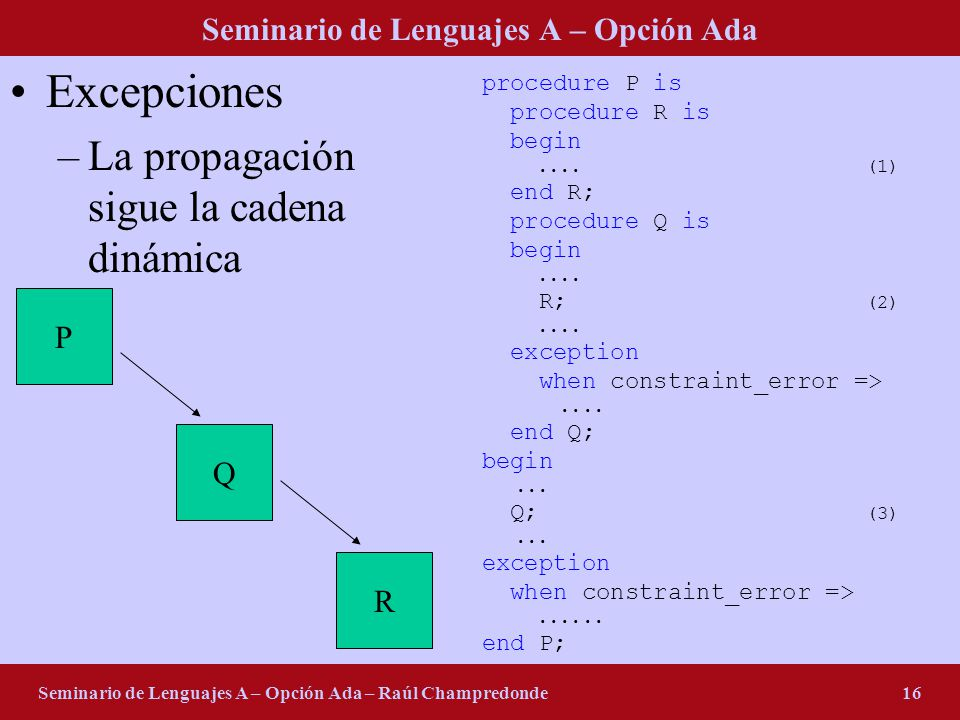 Seminario de Lenguajes A – Opción Ada Seminario de Lenguajes A – Opción Ada – Raúl Champredonde16 Excepciones –La propagación sigue la cadena dinámica procedure P is procedure R is begin....(1) end R; procedure Q is begin....