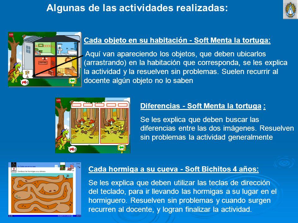 Algunas de las actividades realizadas: Cada objeto en su habitación - Soft Menta la tortuga: Aquí van apareciendo los objetos, que deben ubicarlos (ar