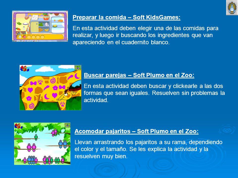 Preparar la comida – Soft KidsGames: En esta actividad deben elegir una de las comidas para realizar, y luego ir buscando los ingredientes que van apa