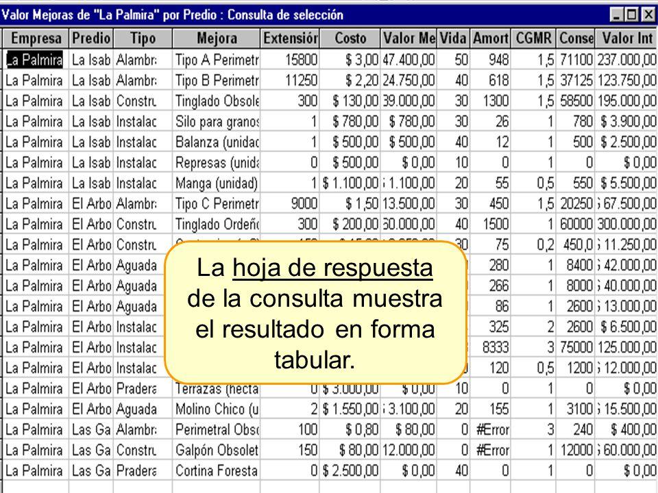 La hoja de respuesta de la consulta muestra el resultado en forma tabular.