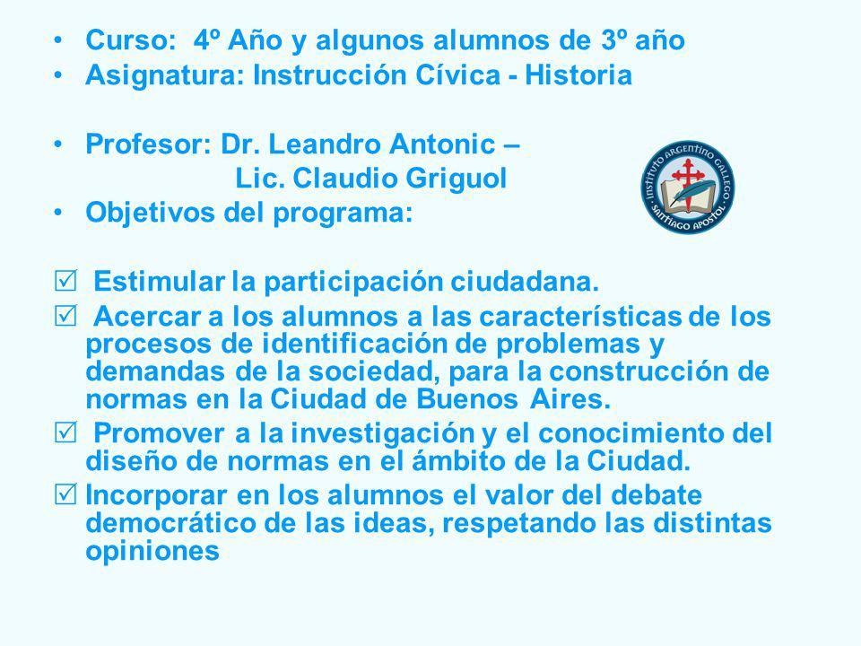 Curso: 4º Año y algunos alumnos de 3º año Asignatura: Instrucción Cívica - Historia Profesor: Dr.