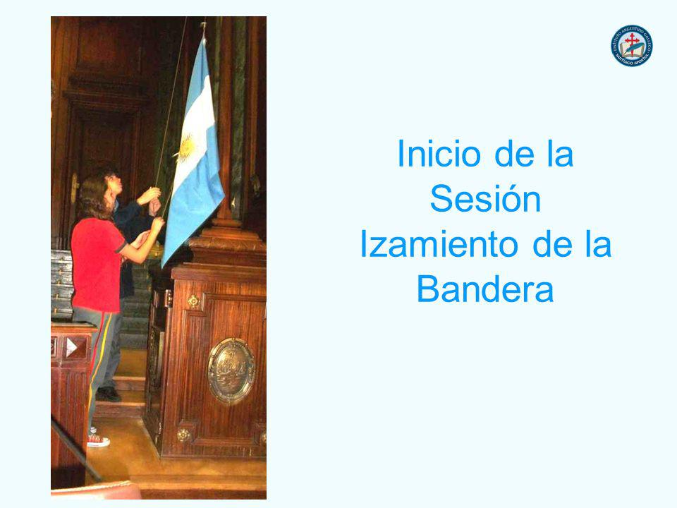 Inicio de la Sesión Izamiento de la Bandera