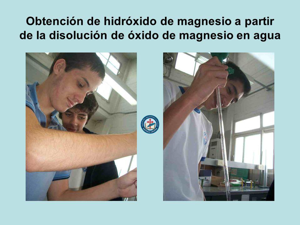 Obtención de hidróxido de magnesio a partir de la disolución de óxido de magnesio en agua