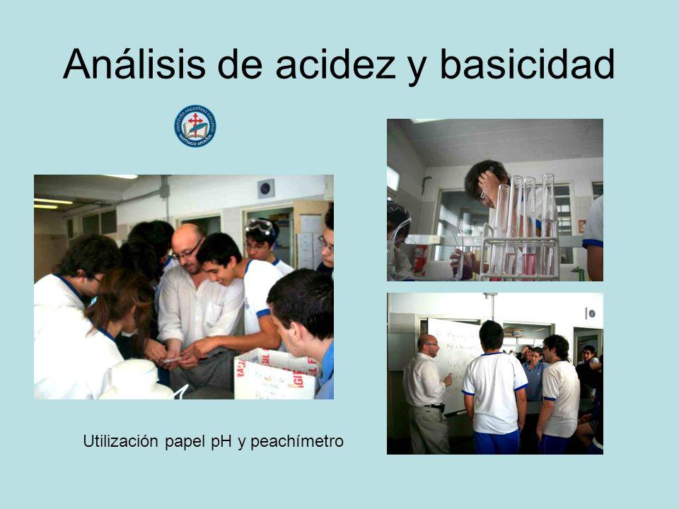 Análisis de acidez y basicidad Utilización papel pH y peachímetro