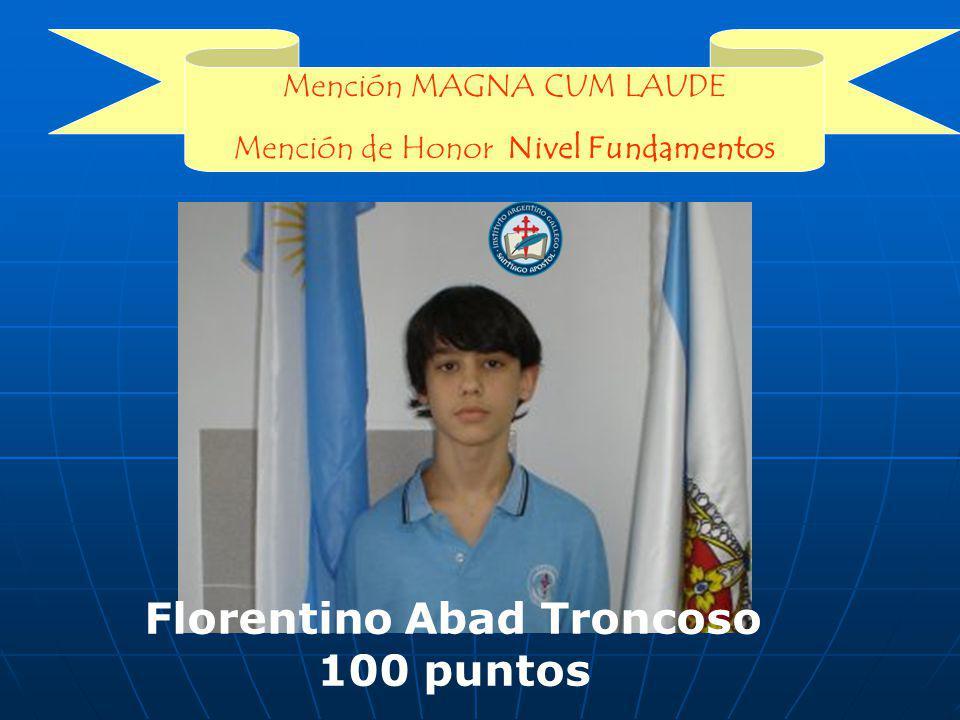 Mención MAGNA CUM LAUDE Mención de Honor Nivel Fundamentos Florentino Abad Troncoso 100 puntos