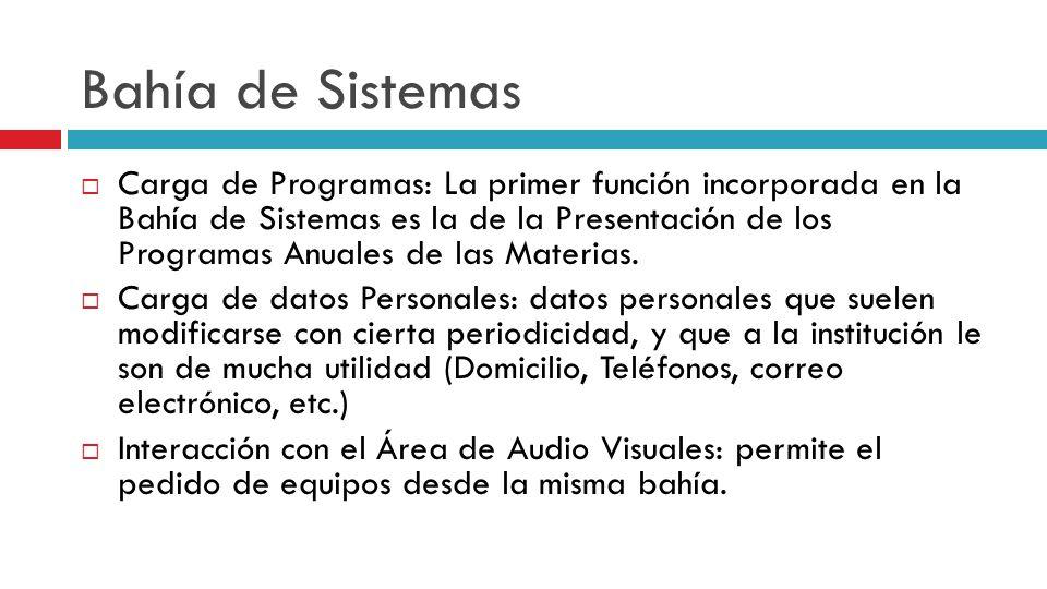 Bahía de Sistemas Carga de Programas: La primer función incorporada en la Bahía de Sistemas es la de la Presentación de los Programas Anuales de las Materias.