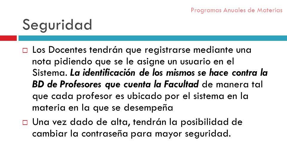 Seguridad Los Docentes tendrán que registrarse mediante una nota pidiendo que se le asigne un usuario en el Sistema.