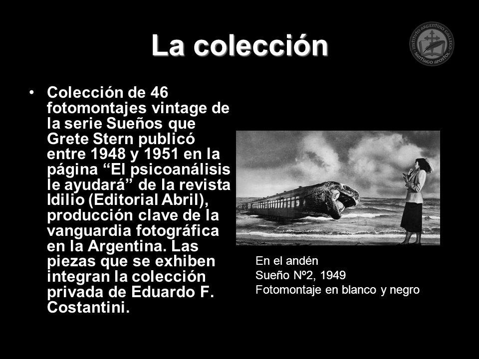 La colección Colección de 46 fotomontajes vintage de la serie Sueños que Grete Stern publicó entre 1948 y 1951 en la página El psicoanálisis le ayudar