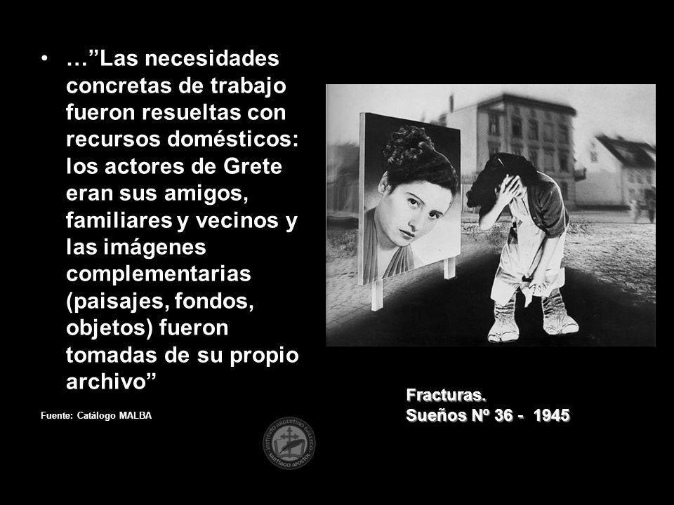 …Las necesidades concretas de trabajo fueron resueltas con recursos domésticos: los actores de Grete eran sus amigos, familiares y vecinos y las imáge
