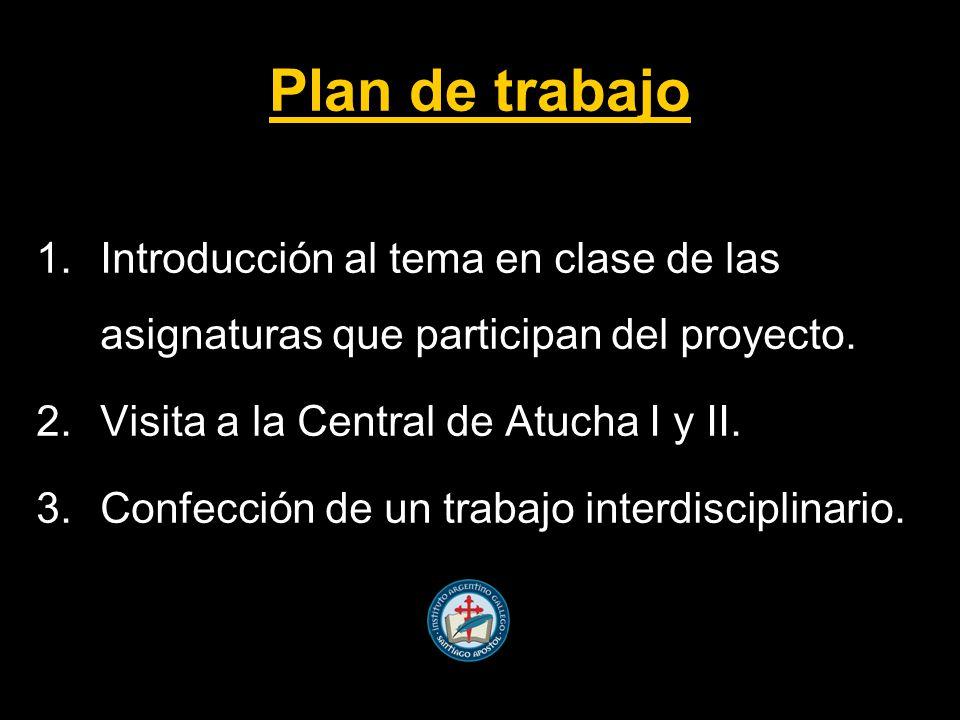 Plan de trabajo 1.Introducción al tema en clase de las asignaturas que participan del proyecto.