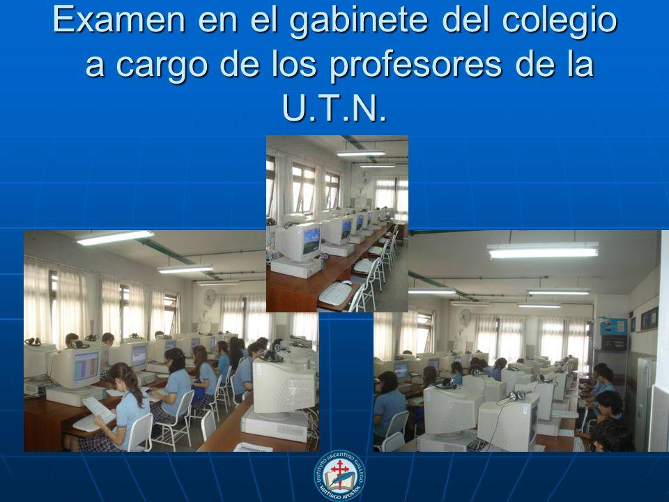 Examen en el gabinete del colegio a cargo de los profesores de la U.T.N.