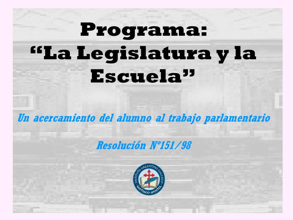 Programa: La Legislatura y la Escuela Un acercamiento del alumno al trabajo parlamentario Resolución Nº151/98