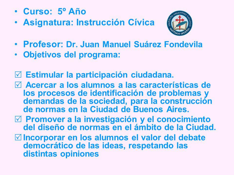 Curso: 5º Año Asignatura: Instrucción Cívica Profesor: Dr.