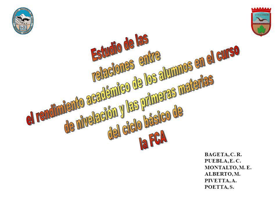 BAGETA, C. R. PUEBLA, E. C. MONTALTO, M. E. ALBERTO, M. PIVETTA, A. POETTA, S.